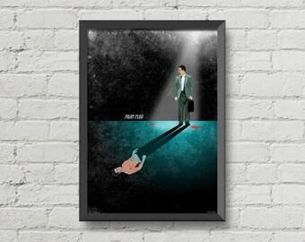 Fight club poster,alternative movie poster,fight club,brad pitt,Edward Norton,art,design,movie poster,CHRISTMAS