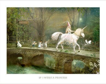 If I were a Princess -  Mounted or unmounted or two sizes of plaques to choose from-All  signed  By Charlotte Bird