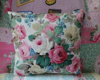 Vintage floral Sanderson fabric cushion cover including cushion pad. Rose fabric cushion. Decorative cushion.  Sanderson fabric.