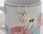 Spoon Jewelry Silverware Earrings ~ NARCISSUS 1935 ~ Sterling Silver Ear Wires, Keepsake Gift & Ready To Ship ~ Gift Under 35
