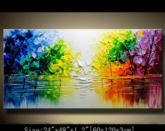 contemporary wall art, Palette Knife Painting,colorful tree painting,wall decor  Home Decor,Acrylic Textured Painting ON Canvas by Chen 0708