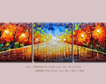 contemporary wall art,Palette Knife Painting,colorful Landscape painting,wall decor,Home Decor,Acrylic Textured Painting ON Canvas Chen 0716