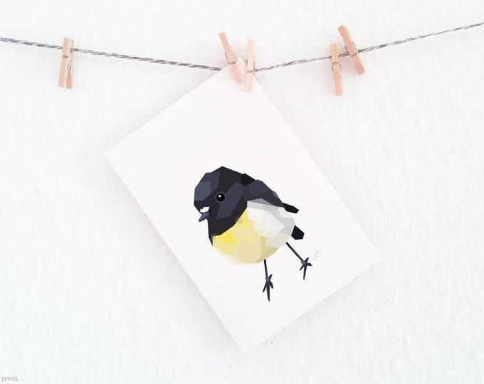 New Zealand tomtit print, Miromiro bird, New Zealand bird art, NZ native birds, Bird wall art, Kiwi wildlife art, Black yellow bird art, A2