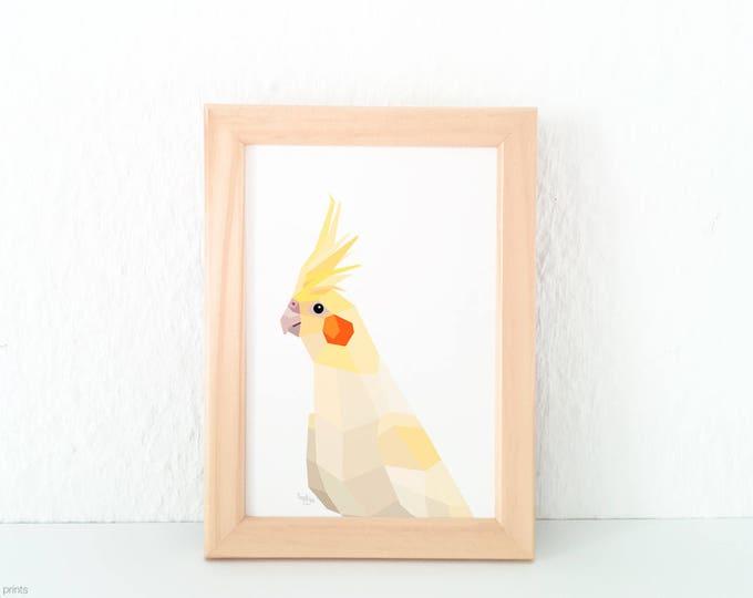 Cockatiel print, White cockatiel art, Australian wildlife, White yellow art, Australian bird, Bird art, Bird decor, Bird lover, Geometric