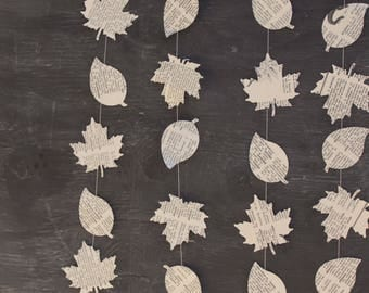Leaf Decorations, Leaf Garland, Paper Garland, Party Decoration, Book Page Garland, Nature Theme Party, Camping Party, Eco Friendly, 10 ft