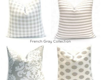 15% Off Sale Decorative Pillow, Gray Pillow , Damask  Pillow, Gray Pillow Cover, French Country , Bedding, Pillow, Striped Pillow,