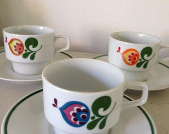 Three retro cups and saucers vintage cups and saucers 3 x