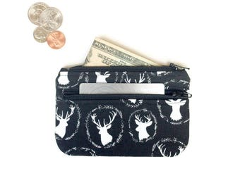 Cute Coin Purse  - Deer 2 Zipper Change Purse Pouch - Small Card Wallet - Id holder - cute small wallet by Reindeer Country