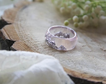 Baby Pink Resin ring, Silver flakes resin ring, transparent ring, big size resin ring, anniversary ring, engagement ring, romantic ring