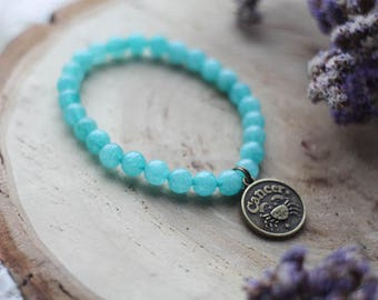 Cancer Charm Bracelet, Stretch Gemstone Bracelet, Zodiac Bracelet, Birthstone Jewelry, Birthday Gift, Astrology Healing Bracelet