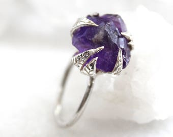 20% OFF SALE amethyst ring, raw amethyst, sterling silver, silver ring, hand carved ring, recycled silver, leaf ring, statement ring, rough