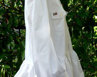 Double Pocket Re Engineered Crisp White Peplum Shirt.