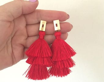 "Gold Filled Rectangle Red Tiered Tassel Earrings, Red Stacked Tassle Earrings, Party, Holidays, Bridal, Gifts, Lightweight 3"" Drop"