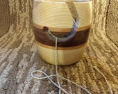 Handcrafted Wooden Yarn Bowl Ash, Cherry and Walnut #262