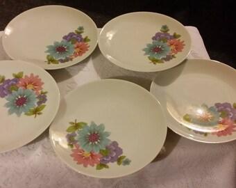 Dessert Plates Porcelain Spring Flowers Deco Mitterteich Bavaria Set of Five