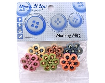Morning Mist Multicolored Flowers Novelty Buttons Jesse James Dress it Up Theme Pack