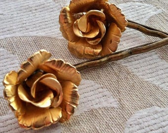 Gold Rose Lisner Jewelry Hair Pins Vintage Decorative Bridal Floral Bobby Pins Romantic Bridal Woodland Goddess