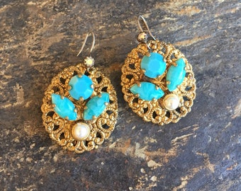 Turquoise Blue Pearl  Filigree Reign Bridal Earrings W West Germany Jewelry