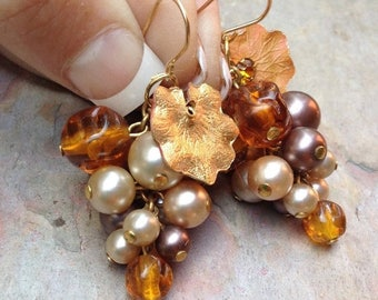 1stDayofSummerSALE Vintage Grape Earrings Vineyard Bridal Wedding Amber Pearl Cluster Dangles 1960