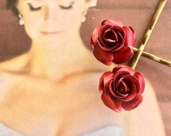 Red Rose Bridal Hair Pins Vintage 1950 1960 Hairpins Bobby Pins Rimabtic Wedding Burton Goth Gothic