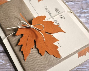 This is a custom listing for K. 60 Fall Wedding Invitations, Autumn Wedding Invitations, leaf invitations, Fall Wedding Invites
