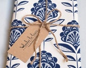 Tea towel, screen-printed with peacock flower pattern - cotton kitchen towel - navy blue