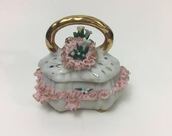 CAPODIMONTE Trinket Box Vintage Crown N Victoria Signed Italy Pink Lace Lid Handle Porcelain