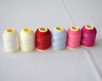 16gr sparkle lurex dazzle oya thread Turkish lace crochet polyester metallic yarn no25 blue red pink thread haakgareni polyester with lurex
