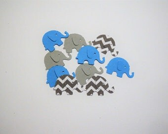 100 Light Blue Gray Elephants,Confetti,Baby Shower,Nursery,Invitations,Baby Boy,Gender Reveal