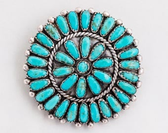 Vintage Pendant - Vintage Zuni Sterling Silver Pettipoint Turquoise Pendant/Pin