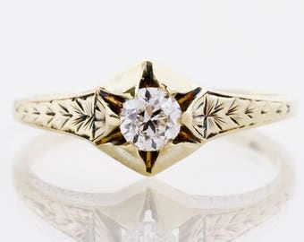 Antique Engagement Ring - Antique Art Deco 1930's 14k Yellow Gold Diamond Engagement Ring