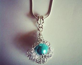 Turquoise glass bead flower pendant chain