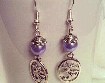 Ohm sky blue beads earrings