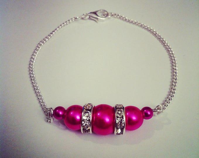 Fuchsia and rhinestone beads silver bracelet