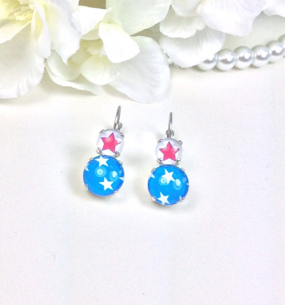"""A FUN 12MM/8.5mm Drop Earring -  When you need To Channel Your Inner  """"Wonder Woman""""... - FREE SHIPPING"""