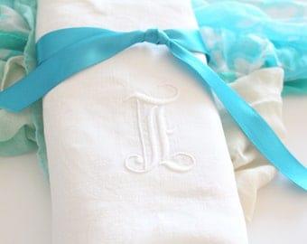 "LARGE TEA TOWEL, Huck Linen, Vintage Script Monogram, Embroidered Tea Towel with Initial ""E"", Kitchen Decor, Housewarming Gift Inspiration"