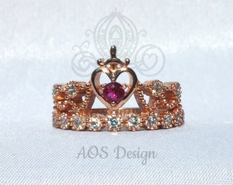 Snow White Princess Sword Heart Ring 18 kt Rose Gold Plated Sterling Silver Crystals Kingdom Hearts Sacred Heart
