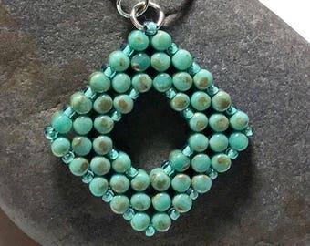 Beadwork Pendant Teal Beaded Pendant Beadwoven Pendant Teal Silver Pendant Aqua Beaded Pendant Teal Silver Necklace Beadwork Necklace