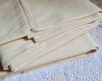 """French Vintage METIS LINEN SHEET. Cream Colored Sheet with Traditional Ladder Work on the Top Part L 2.70cm x W 2.14cm or L 106 """" x W 84 """"."""
