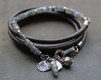 Labradorite beaded bracelet- Rustic jewelry sterling silver and flashy labradorite Leather Wrap bracelet
