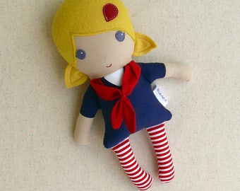 Fabric Doll Rag Doll Small Mini Doll 10 inch Doll with Blond Hair and Navy and Red Sailor Dress