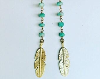 Beaded Feather Earrings // Boho Rosary Stone Feather Earrings // Bridesmaid Earrings