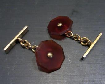 Vintage Cufflinks, Art Deco Carnelian Cufflinks Gold-filled c. 1930, Antique Cufflinks, Art Deco Cufflinks