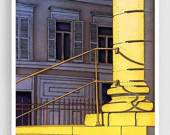 30% OFF SALE: Paris illustration - Bonjour Paris - Art Print Poster Paris art Paris decor Home decor Living room art Sunshine Yellow Morning