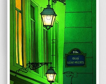 30% OFF SALE: Quai Saint Michel (green version) - Paris illustration Fine Art illustration print Poster Architecture Home decor Wall art Cit