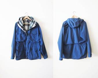 Vintage 60 40 Jacket - Plaid Lined Jacket - Camping Jacket - Blue Hooded Camp Jacket - Outdoors Clothing - 80s Jacket - Vintage Windbreaker