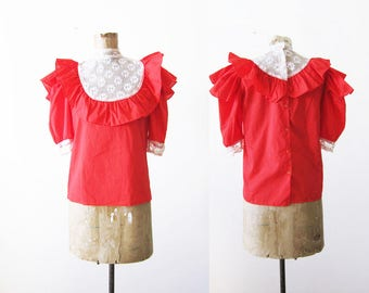 Ruffle Blouse - Ruffle Sleeve Shirt - High Neck Top - New Victorian Blouse - Romantic Shirt - 80s Blouse - 80s Clothing - Lace High Neck S