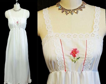 SALE Vintage 60s 70s Lorraine Country Look Embroidered Cross Stitch Nightgown Flounce vintage nightgown white nightgown bridal nightgown