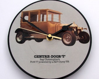 "Everly Brothers Vinyl Record CLOCK, Birddog, made from a recycled 7"" picture Disc, Centre-Door ""T"", Car Collector, Gift for men guys boys"