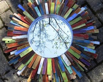 "27"" Colorful Reclaimed Wood Sunburst Mirror Art, Midcentury Modern Art, MADE TO ORDER"
